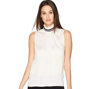 NANETTE LEPORE Womens Top Blouse High Neck Pearls